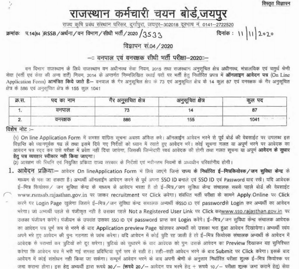 Notification of Rajasthan Forest Guard Recruitment