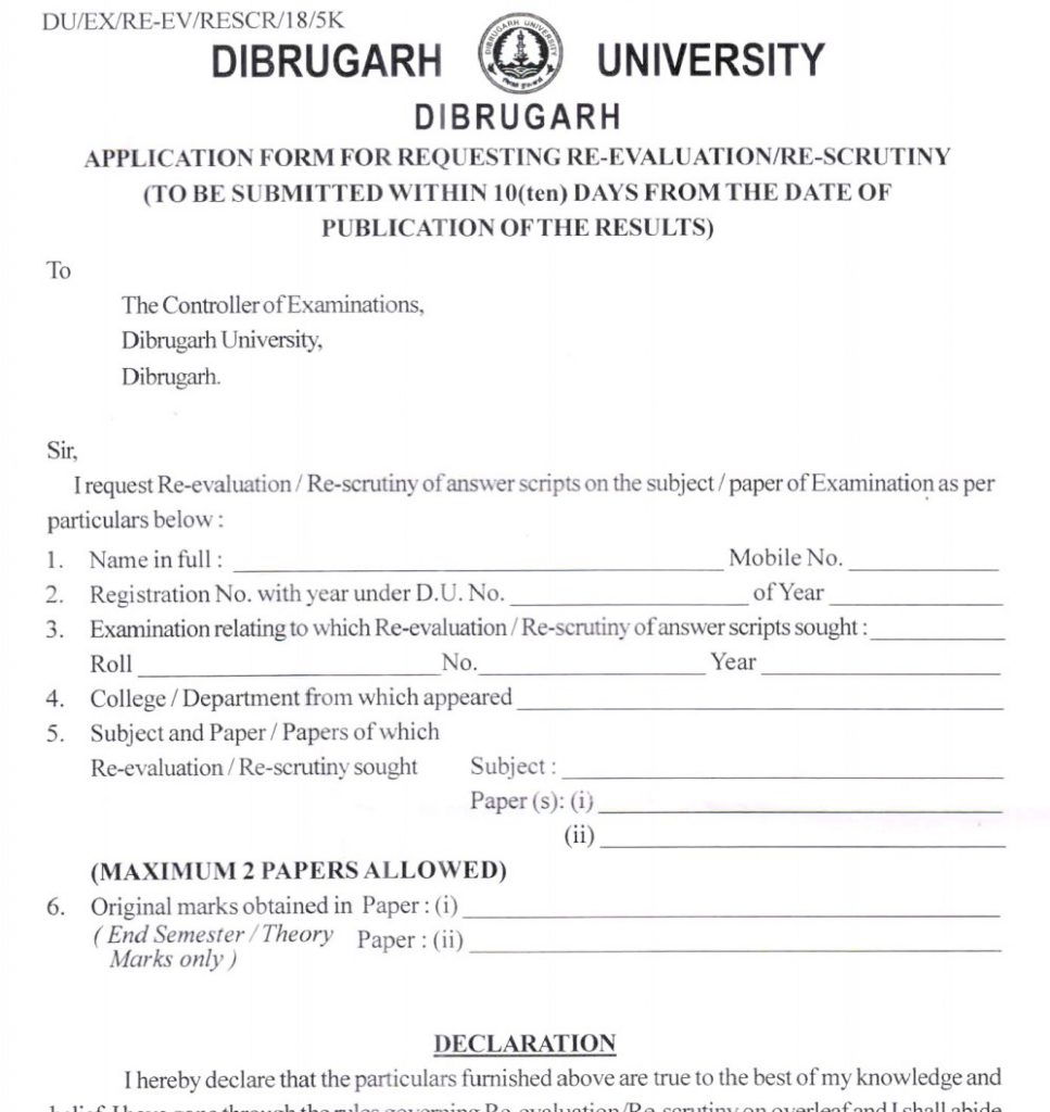 Dibrugarh Re-Valuation Application Form