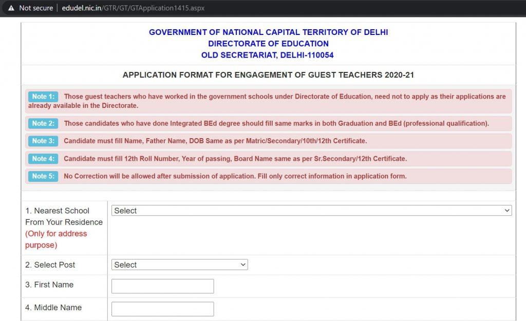 Delhi Govt Teachers Recruitment 2021