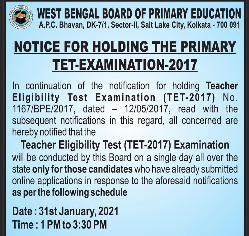 WB TET Exam Date Notice