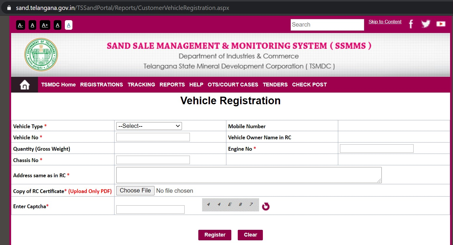 Vehicle Registration Form