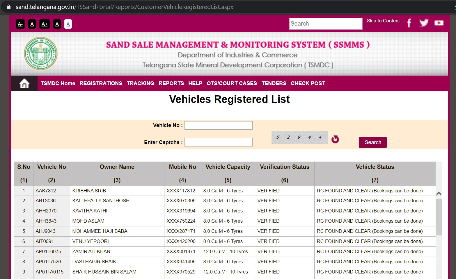 Vehicle Registered Customer Names