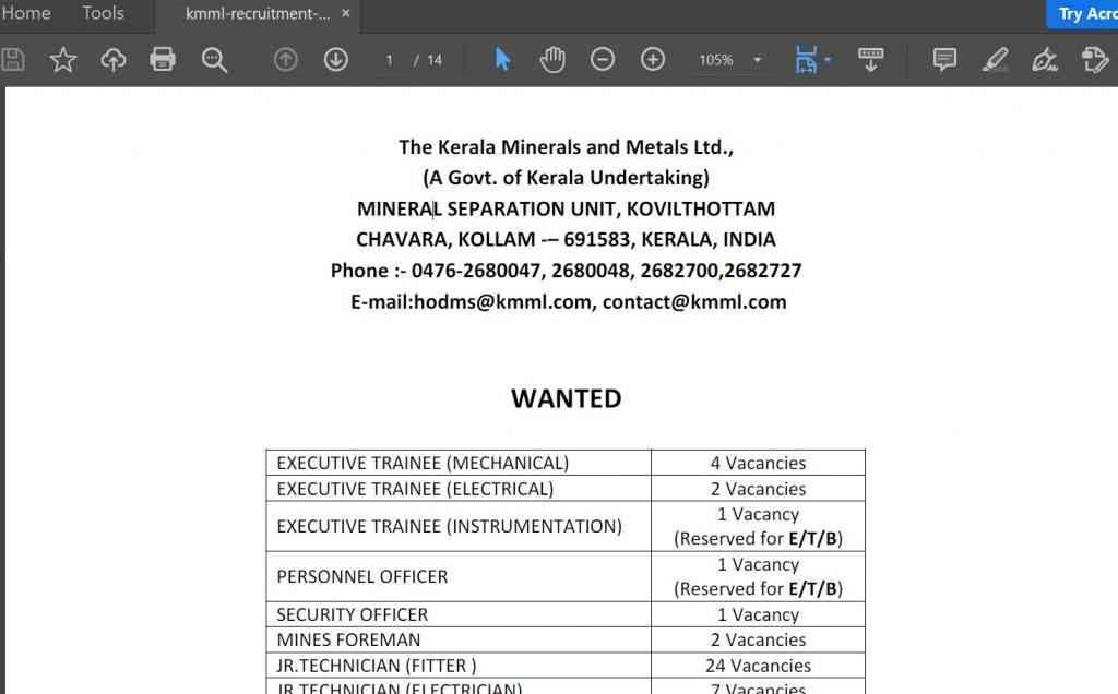 KMML Recruitment 2021