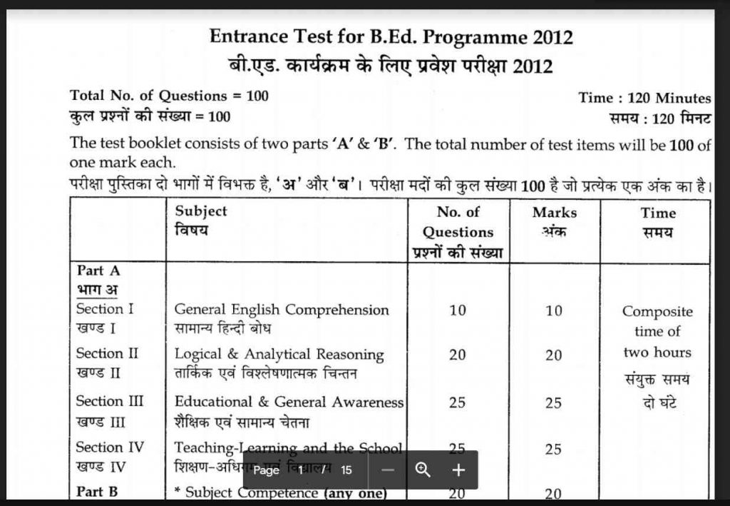 Download B.Ed Entrance Exam Model Question Paper
