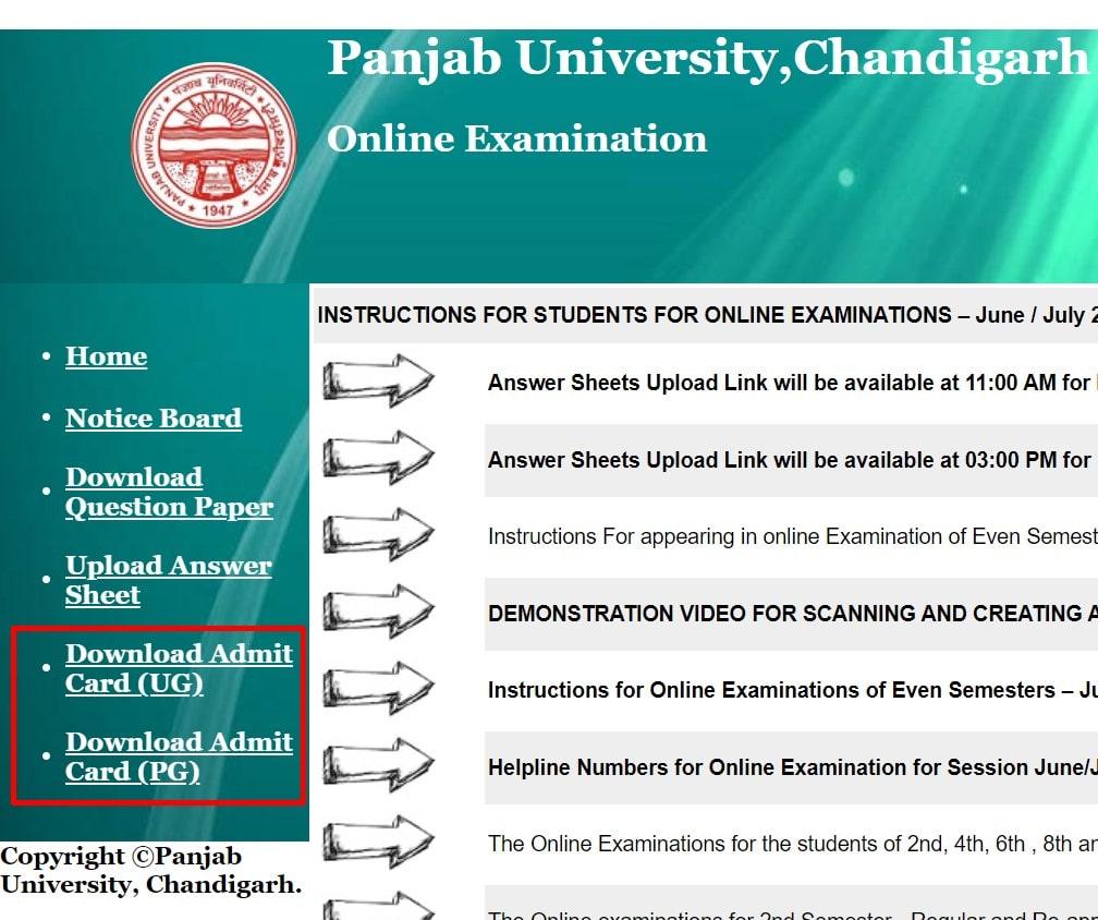 Panjab University Admit Card Links