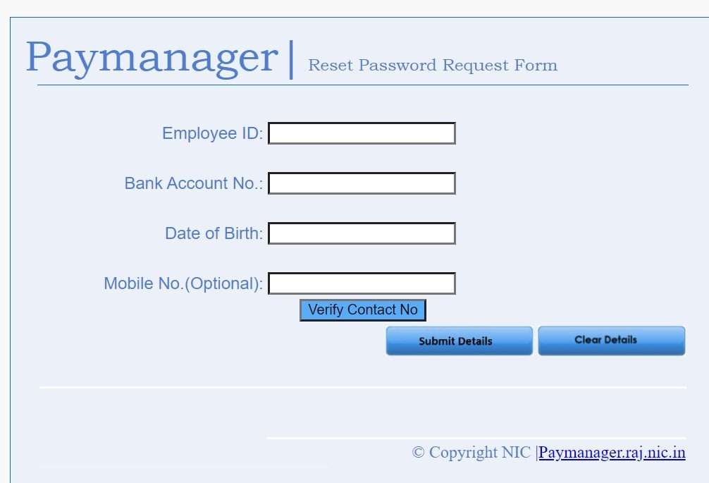 Paymanager Forgot Password Form